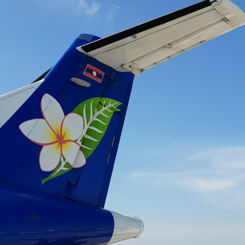 The tail of Laos Airlines