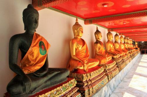 Gilded Buddha statues at Wat Pho, Bangkok