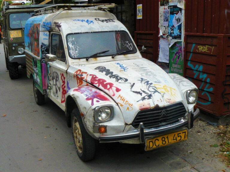 Old Renault pickup with graffiti painted