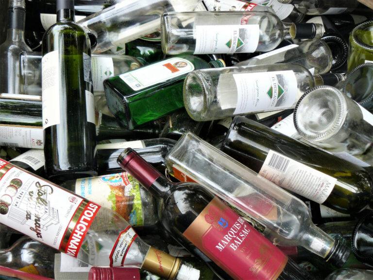 Discarded empty liquor bottles