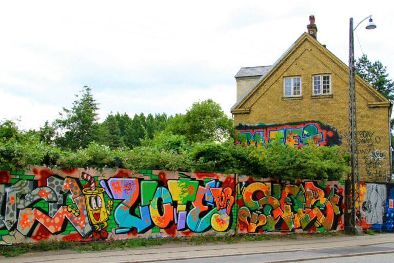 Graffiti spray painted on outside walls of Christiania