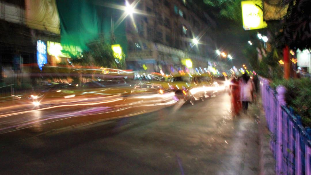 Rush hour on Park Street at night