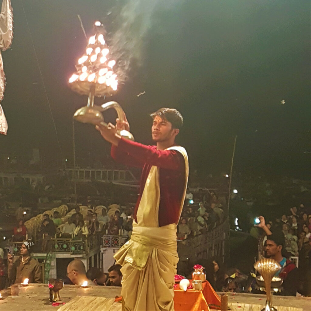 Ganga aarti on the banks of the Ganges