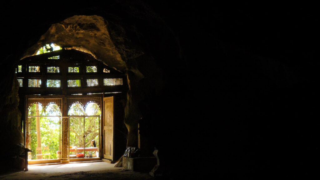 Inside the cave at Pak Ou