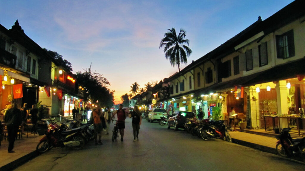 The town comes alive immediately after sunset