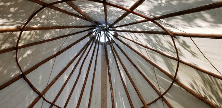 Ceiling inside Annonchia longhouse