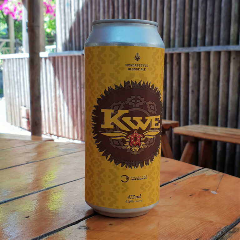 Kwe beer can at the restaurant