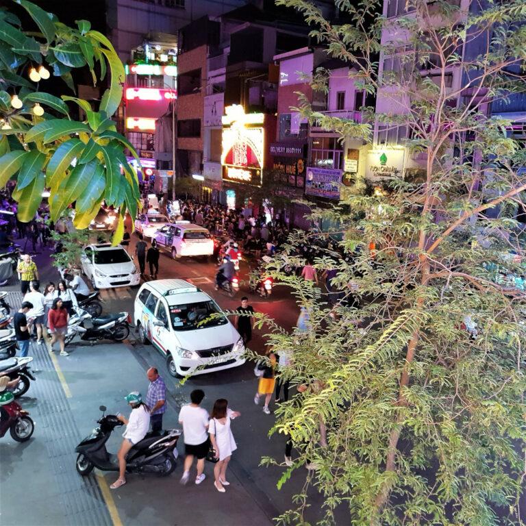View of Bui Vien street from NAM Kitchen in Saigon Vietnam