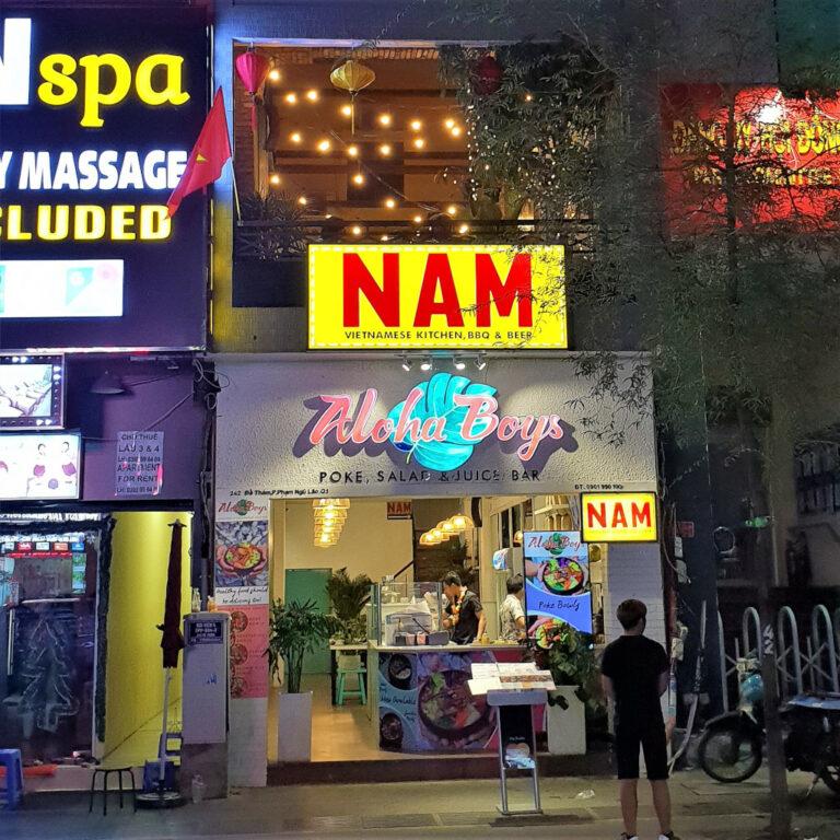 Exterior shot of NAM Kitchen close to Bui Vien Street in Saigon Vietnam