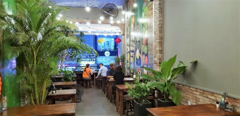 Travel friends catch up at NAM kitchen in Saigon Vietnam