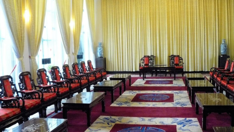 View of reception room in Independence Palace where dignitaries were received