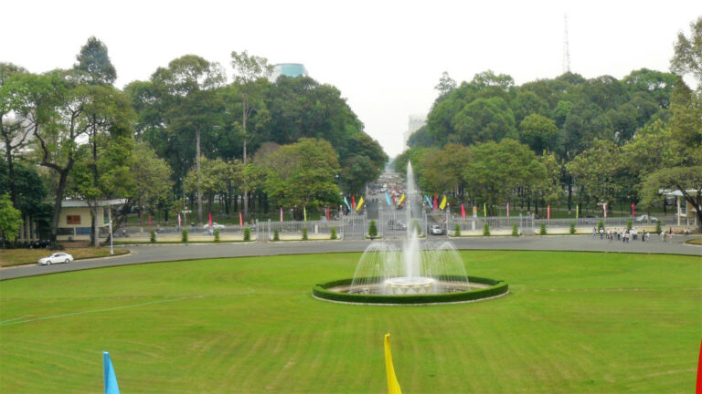 View of lawn in front of Indepence Palace
