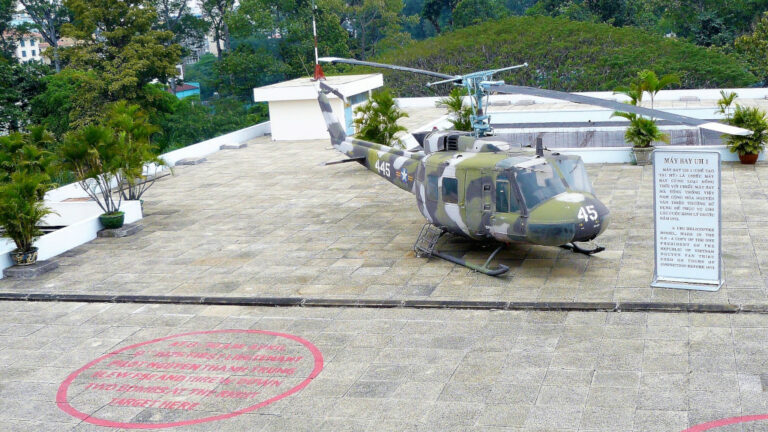 Rooftop helipad with captured helicopter at Independence Palace and site of a previous failed bombing