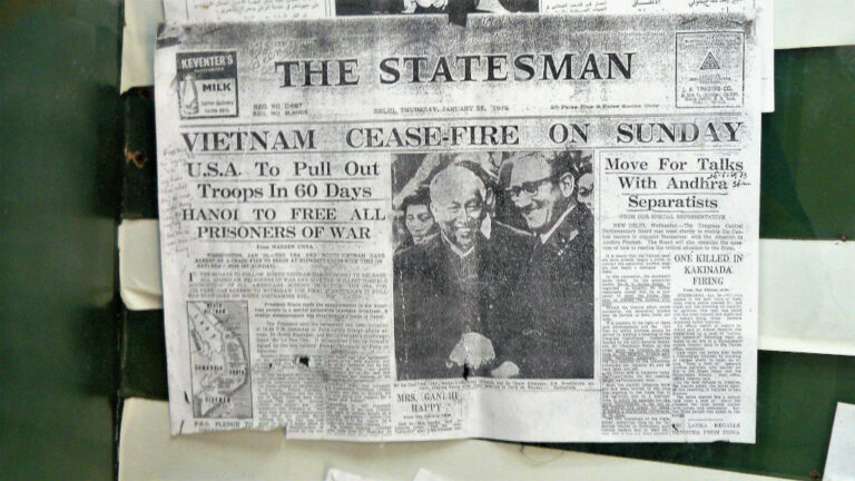 Newspaper clipping announcing cease-fire of hostilities