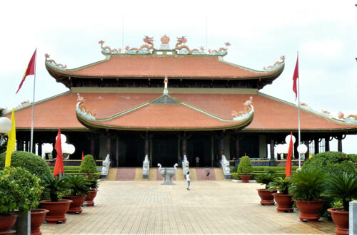 Front view of Ben Duoc memorial temple complex near Cu Chi tunnels