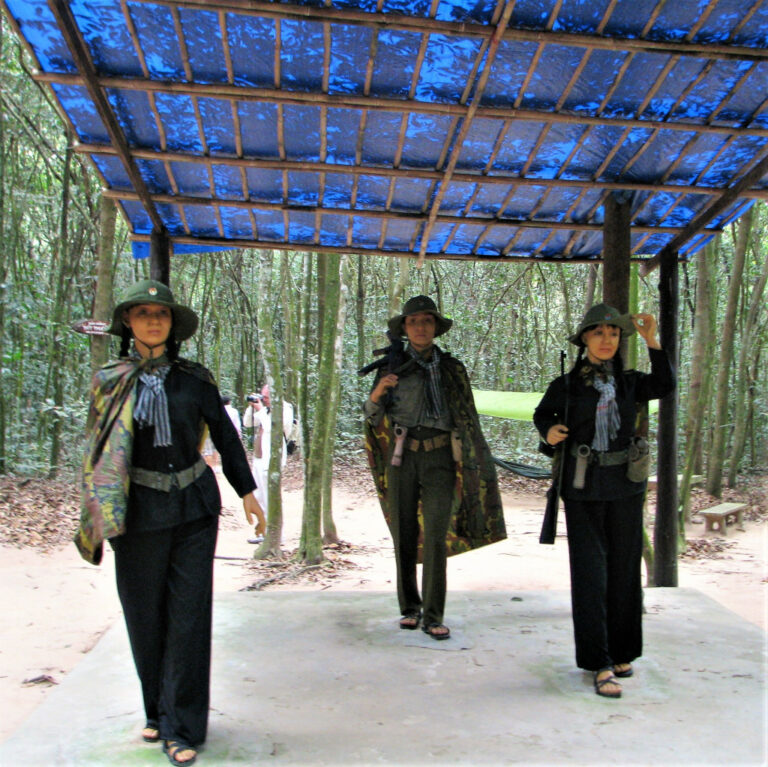 Mannquins of Viet Cong women soldiers at Cu Chi tunnels