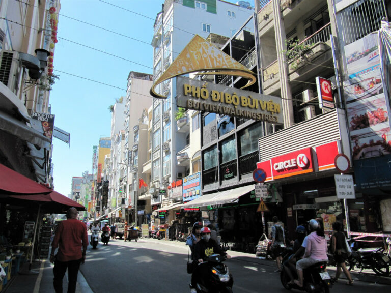 View of Bui Vien Street during the day in Saigon Vietnam