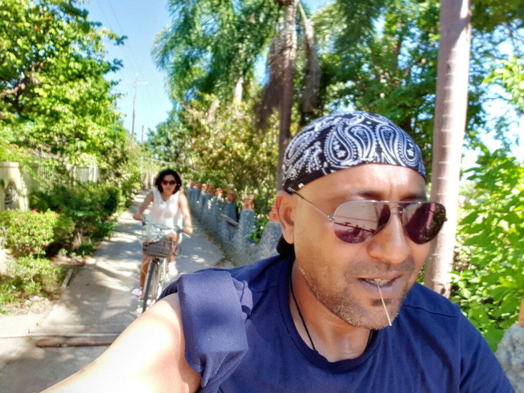 Riding bicycles around the village