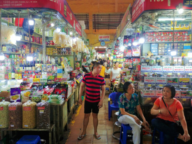 Inside Ben Thanh Market in Saigon, Vietnam