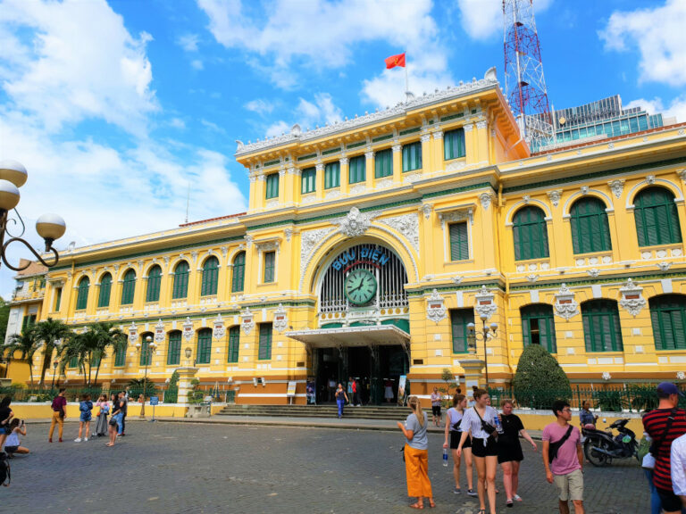 Exterior view of Central Post Office in Saigon, Vietnam