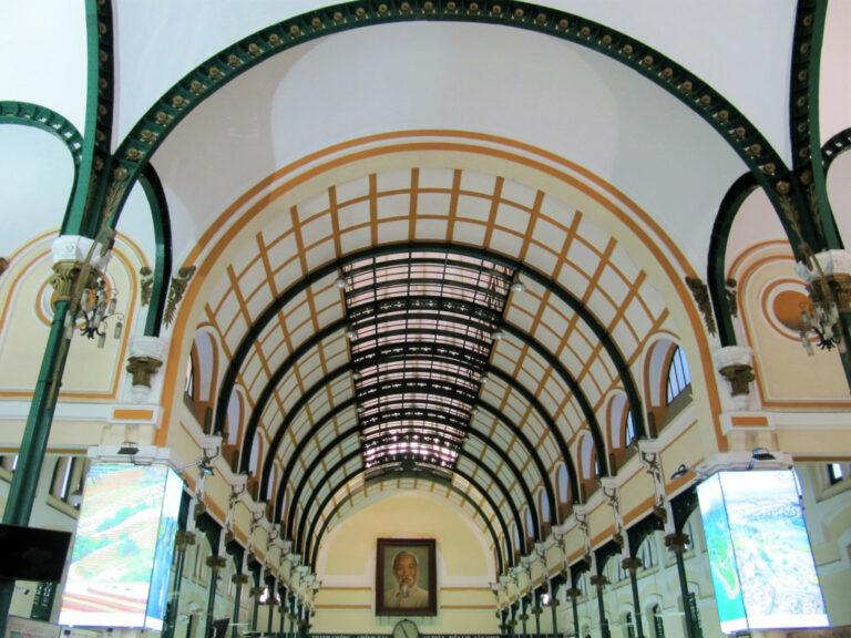 Interior view of Central Post Office in Saigon, Vietnam