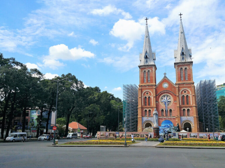 View of the Notre-Dame Cathedral in Saigon, Vietnam