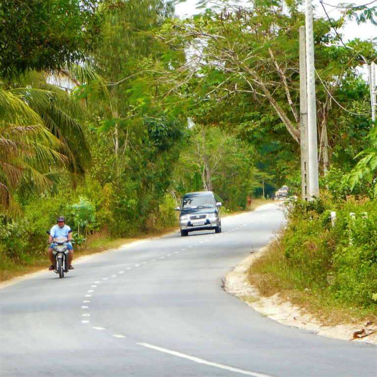 Countryside road heading to Cu Chi tunnels