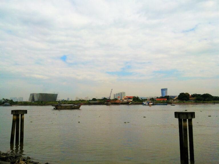 View of Saigon river from the banks in Saigon, Vietnam