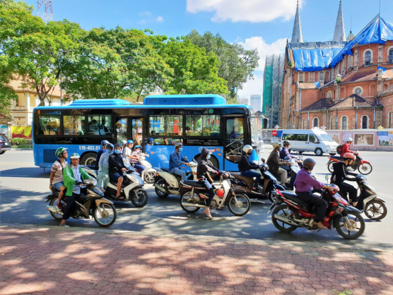 Traffic at a stop in front of a signal in Saigon, Vietnam