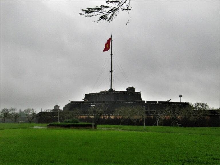 Vietnamese flag fluttering atop the Citadel.
