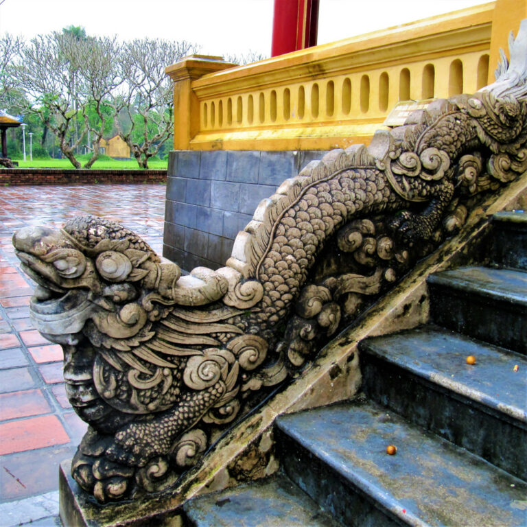 Chinese influenced stairway carving