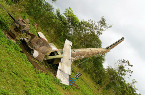 View of a crashed helicopter