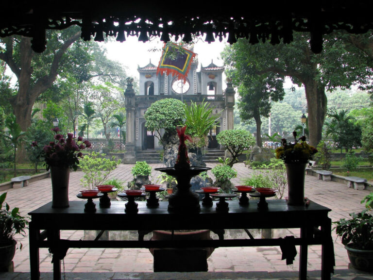View of the entrance to Quan Thanh temple from the shrine Hanoi