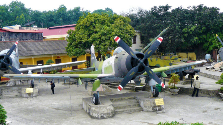 AD-5 Skyraider on display at the courtyard