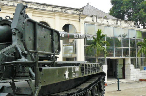 Entrance to the Vietnam Military Museum with a captured tank facing it