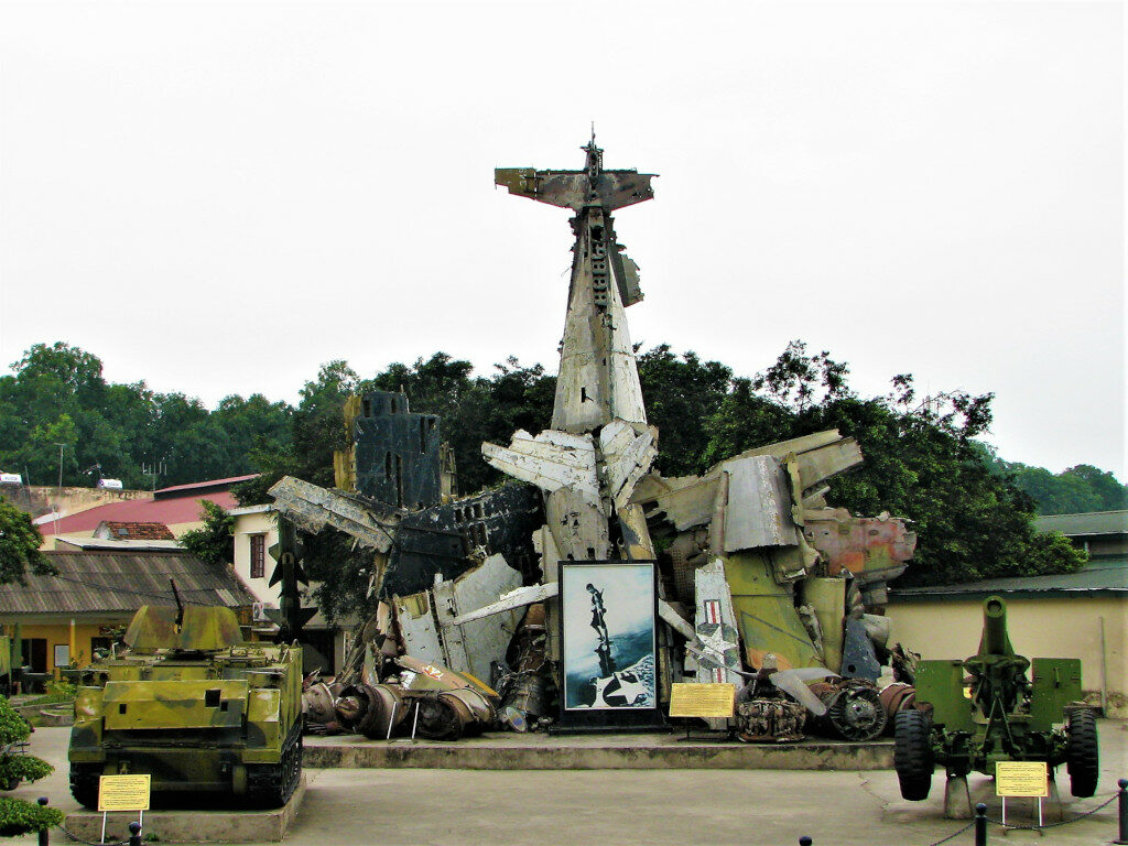 View of the B-52 wreckage in the courtyard
