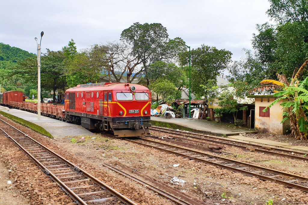 Locomotive parked at station on the journey