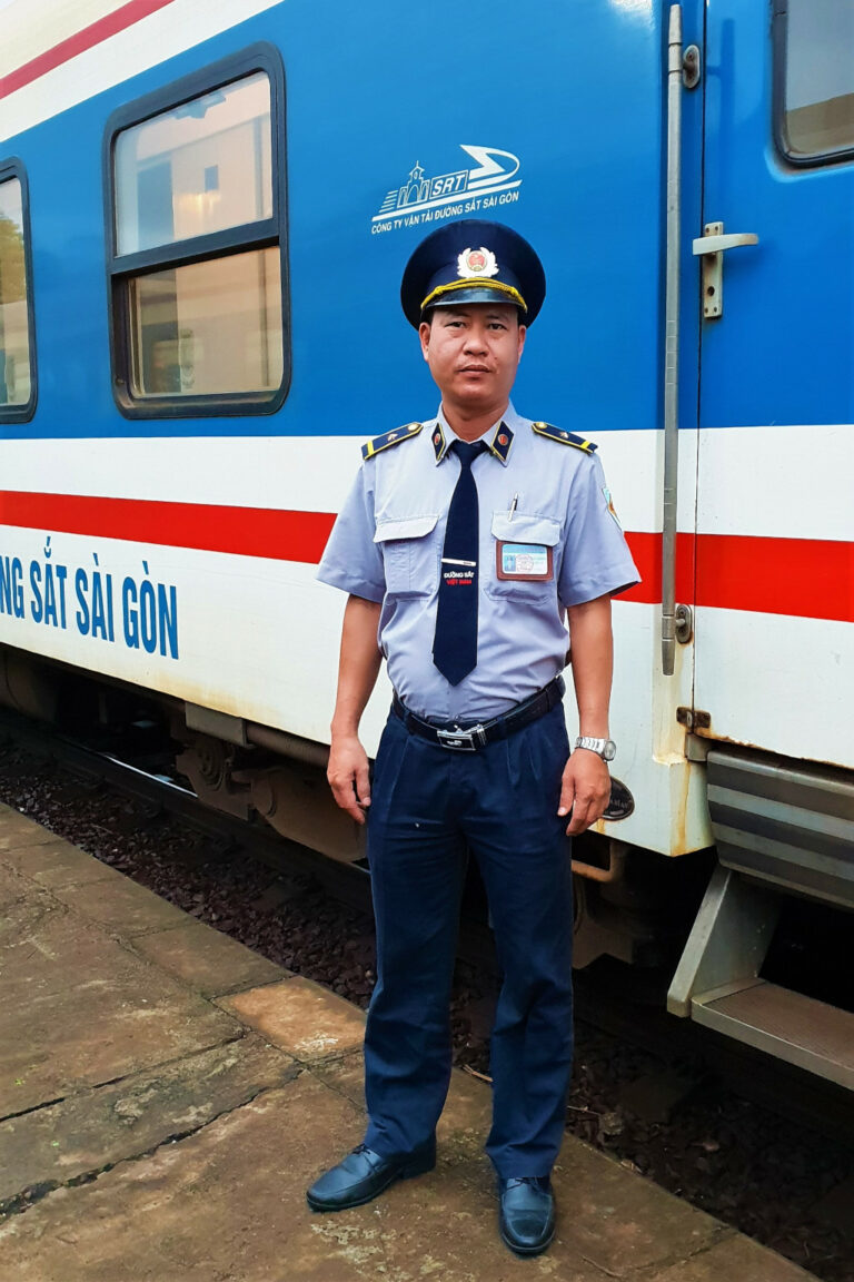 Train driver on the leg from Hue to Danang