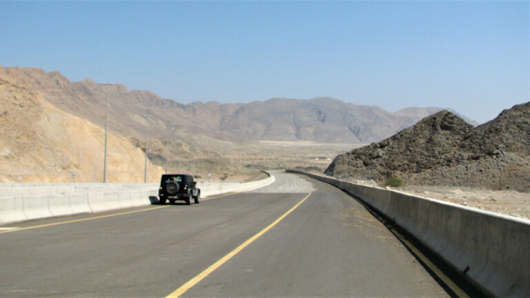 Jeep Wrangler on the Quriyat - Muscat highway.