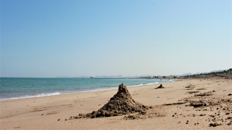 Ghost crab mounds on the beach at Quriyat Oman.