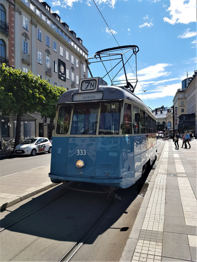 A closer view of the historic Tram 7N