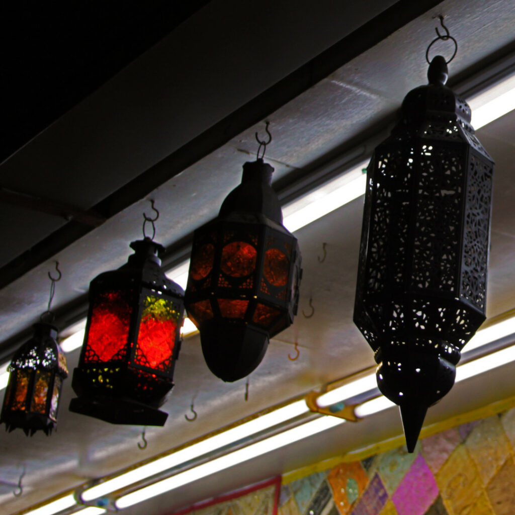 Traditional lanterns hang on the ceiling