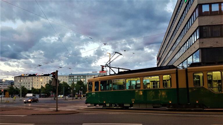A tram line in Helsinki