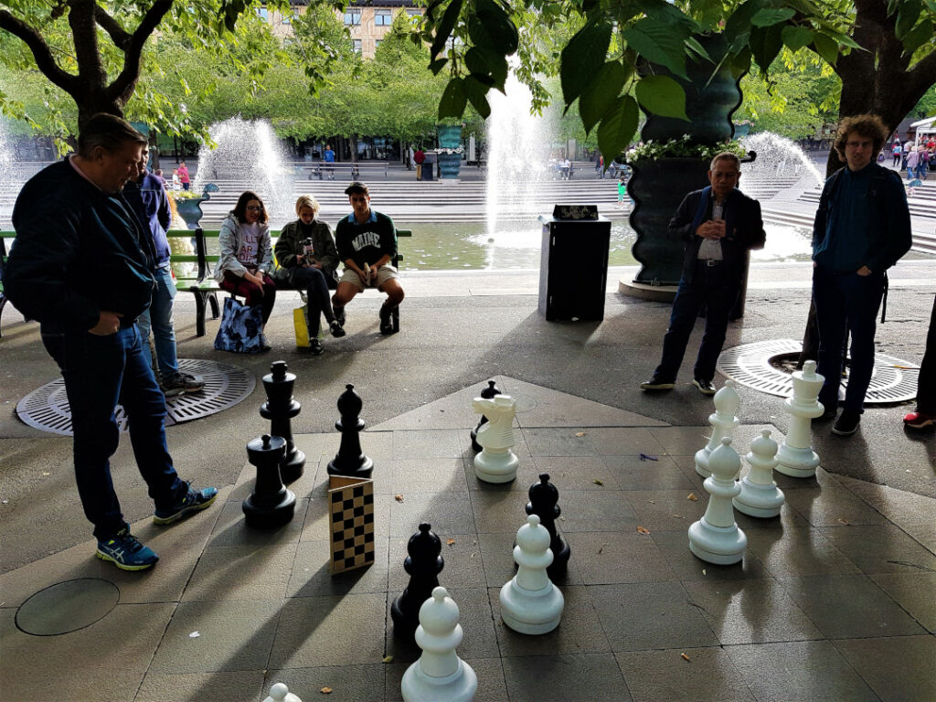 A game of chess on the sidewalks in Stockholm