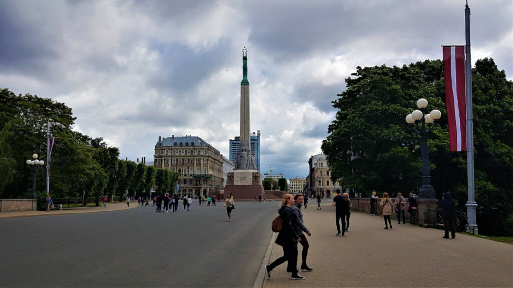 View of the Freedom Monument as you walk from the Old Town