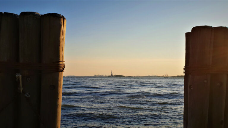 View of the Statue of Liberty from Battery Park City