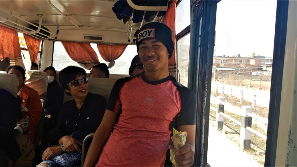 Travelling in a local city bus