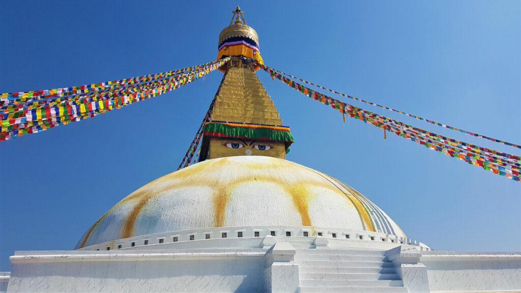 The eyes of Buddha at Boudhanath Stupa