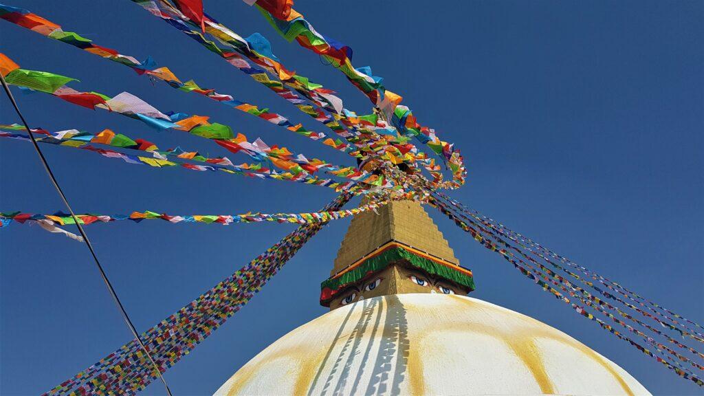 Boudhanath Stupa with Tibetan prayer flags