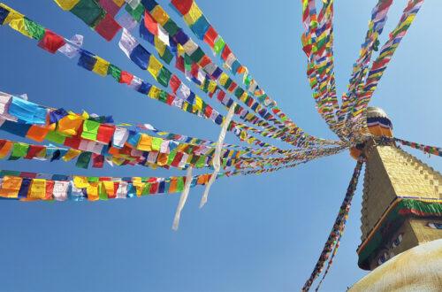 Tibetan prayer flags that adorn Boudhanath Stupa